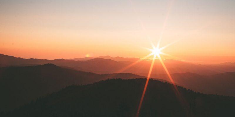 sunshine over mountains
